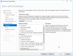 We need to select Hyper-V in the packages section.