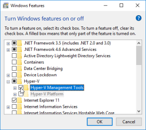 Select Hyper-V Management Tools in the Windows Features list